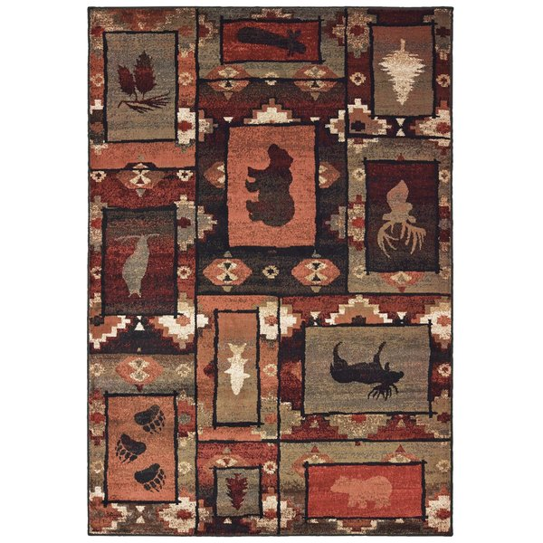 Brown, Rust (D) Country Area Rug