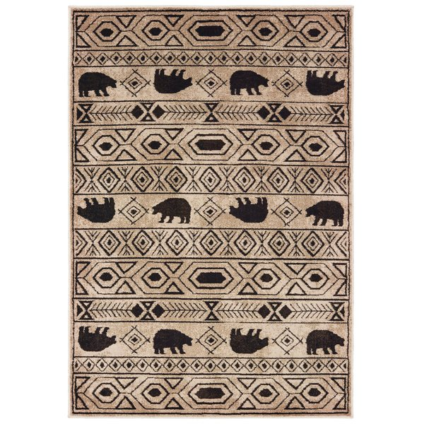 Ivory, Black (A) Country Area Rug