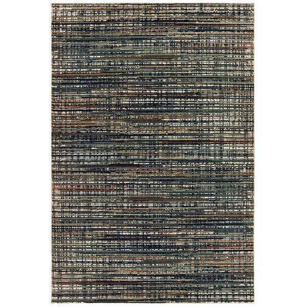 Black, Navy (H) Contemporary / Modern Area Rug