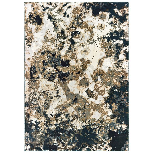 Navy, Gold (Q) Abstract Area Rug