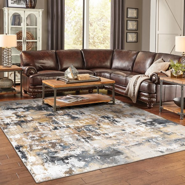 Grey, Gold (X) Abstract Area Rug