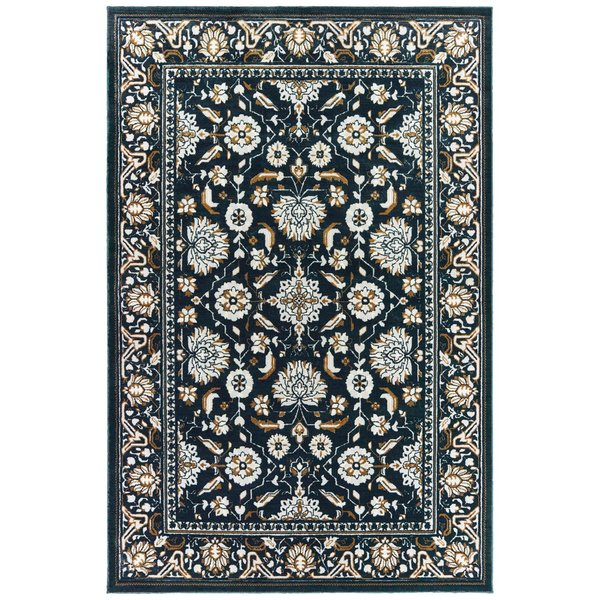 Navy, Gold (L) Traditional / Oriental Area Rug