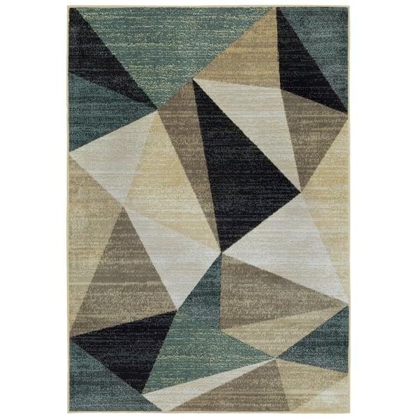 Tan, Brown, Grey  Contemporary / Modern Area Rug