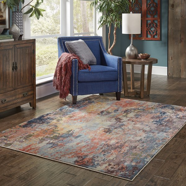 Orange, Yellow, Blue Abstract Area-Rugs