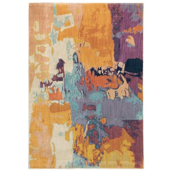 Orange, Purple, Blue Contemporary / Modern Area-Rugs
