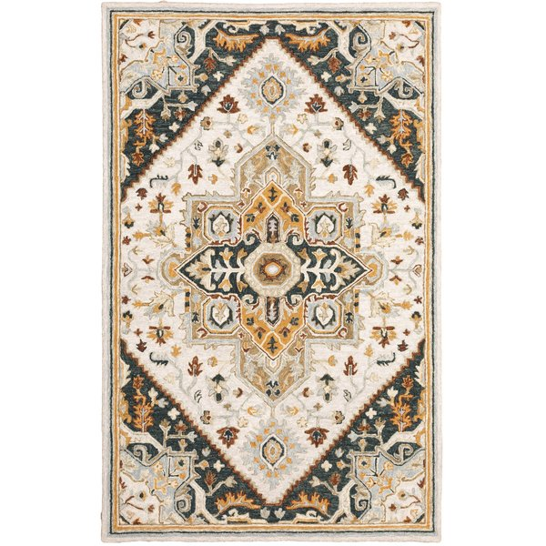 Ivory, Charcoal Traditional / Oriental Area Rug
