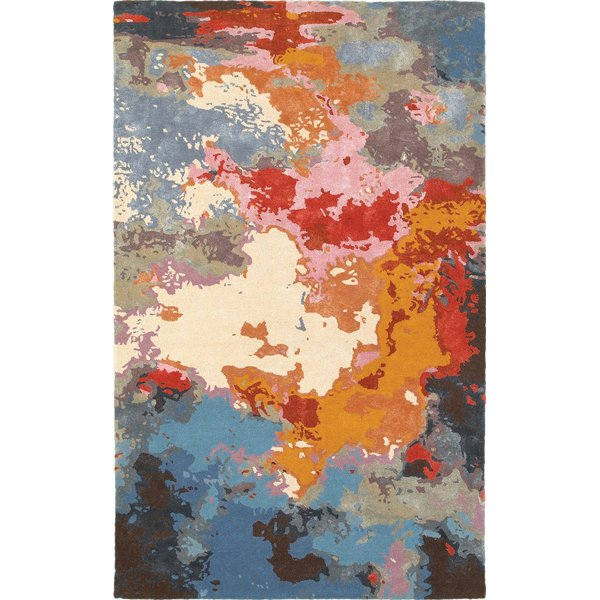 Blue, Orange, Ivory Abstract Area-Rugs