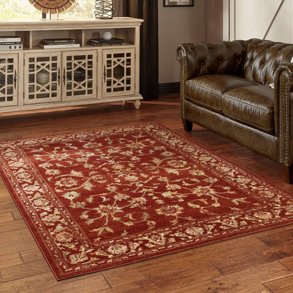 Red, Gold (S) Traditional / Oriental Area Rug