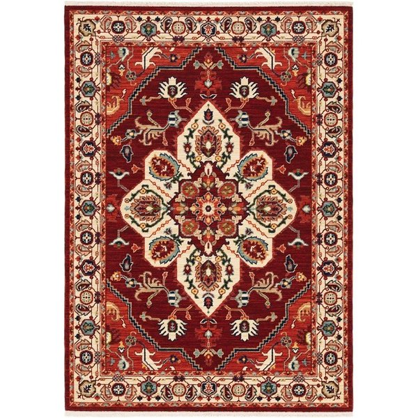 Red, Ivory Bohemian Area Rug