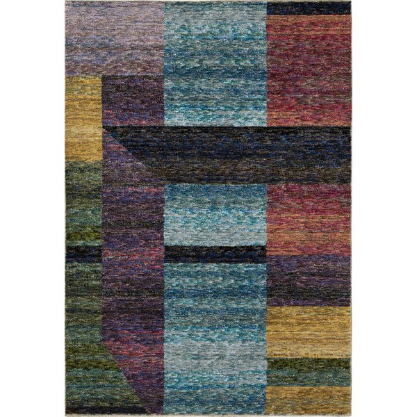 Blue, Purple, Black Contemporary / Modern Area Rug