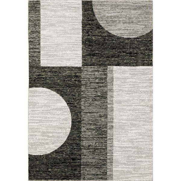Charcoal, Grey Geometric Area Rug