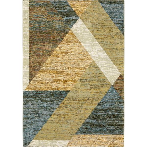 Gold, Blue Geometric Area-Rugs