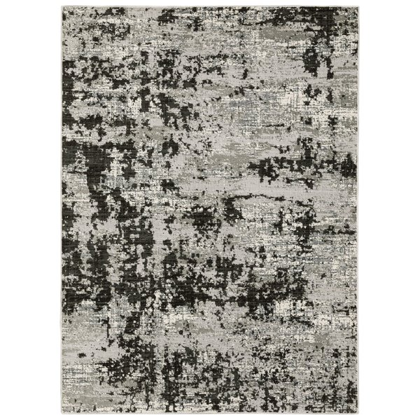 Grey, Black (Q) Abstract Area-Rugs