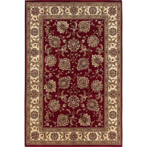 Red, Ivory (117C3) Traditional / Oriental Area Rug