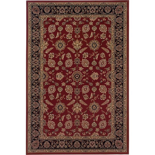 Red, Black (271C) Traditional / Oriental Area Rug