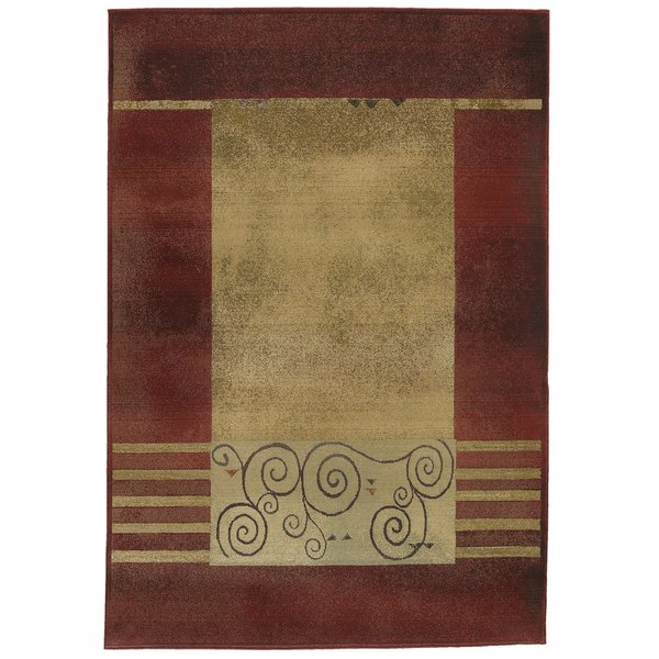 Red, Beige Contemporary / Modern Area Rug