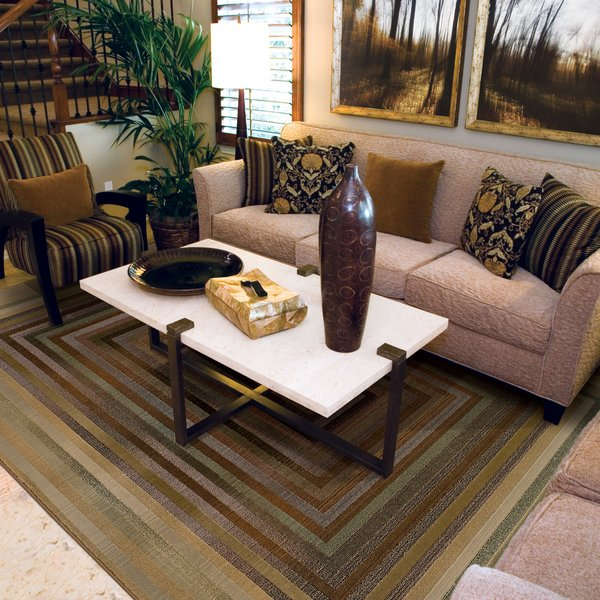 Beige, Green   Contemporary / Modern Area-Rugs
