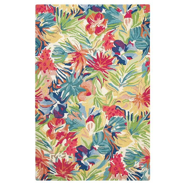 Green, Blue (10768) Floral / Botanical Area-Rugs