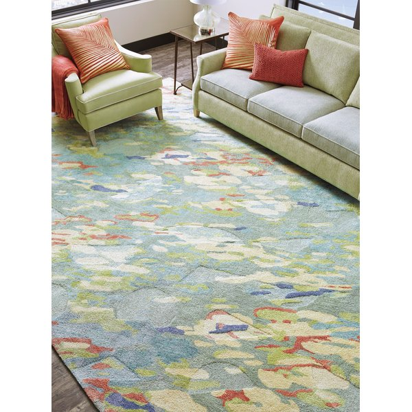 Grey, Green (10259) Abstract Area-Rugs
