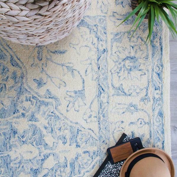 Cream, Blue Vintage / Overdyed Area Rug