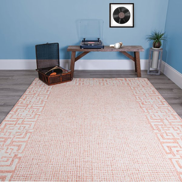 Coral, Ivory Contemporary / Modern Area Rug