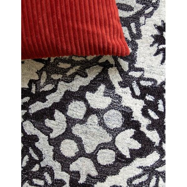 White, Black Contemporary / Modern Area Rug