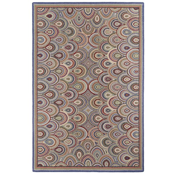 Brown, Blue, Red Contemporary / Modern Area Rug