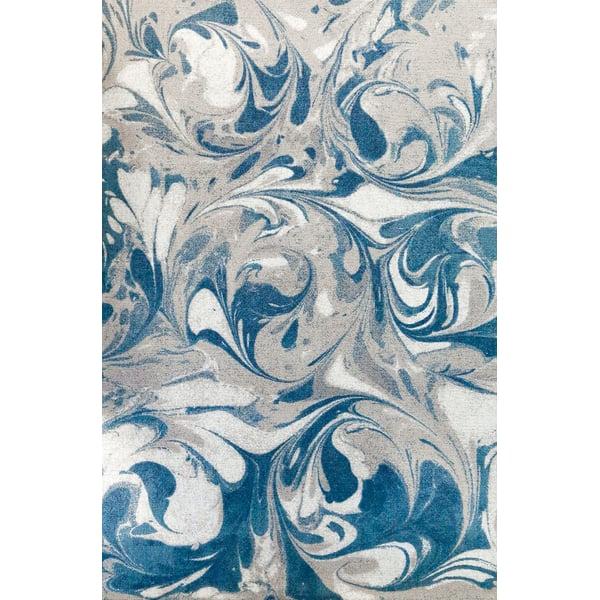 Blue, Grey, Ivory Contemporary / Modern Area Rug