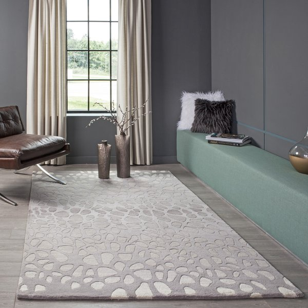Silver Contemporary / Modern Area Rug