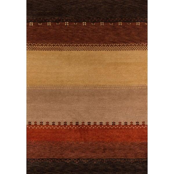 Gold, Dark Brown, Red Southwestern Area Rug
