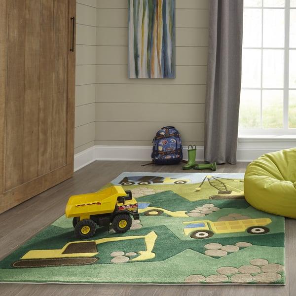 Green, Brown Children's / Kids Area-Rugs