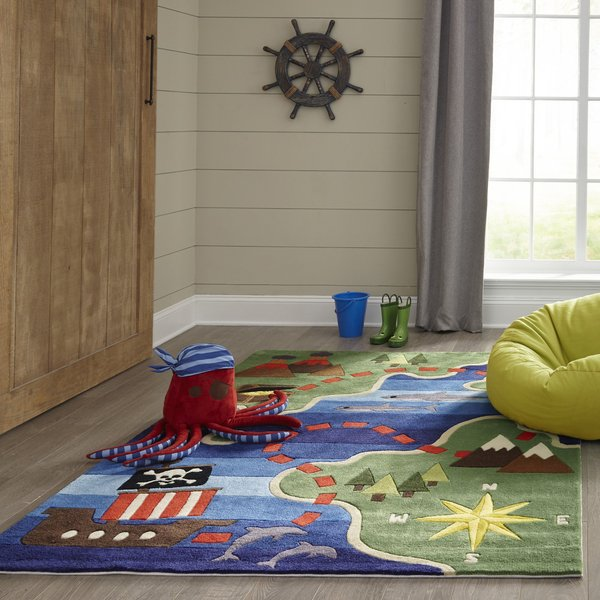Green, Blue, Red Children's / Kids Area Rug