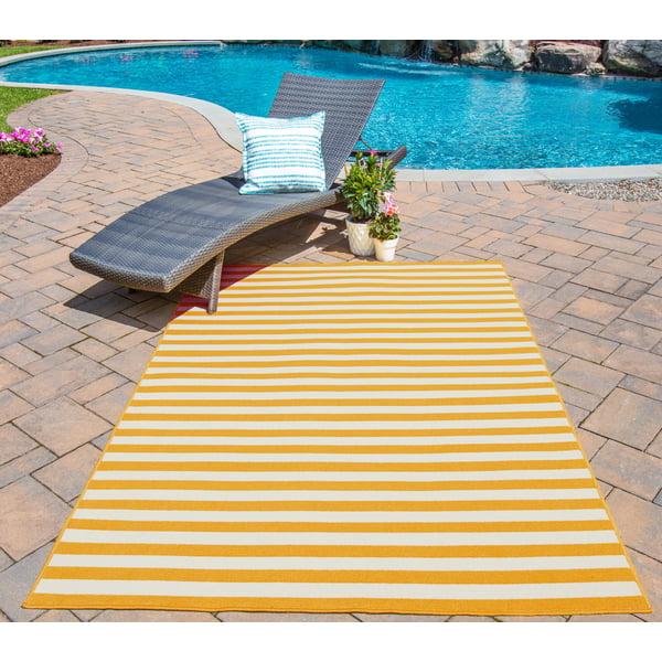 Yellow Striped Area Rug