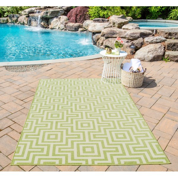 Green  Contemporary / Modern Area Rug