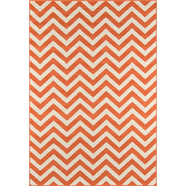 Orange Chevron Area Rug