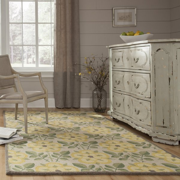 Yellow, Green Floral / Botanical Area Rug