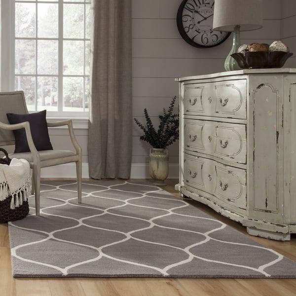 Grey, Ivory Contemporary / Modern Area Rug