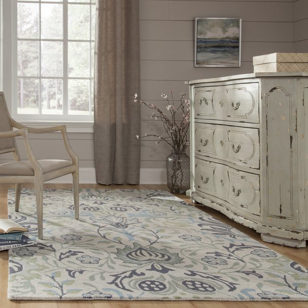 Blue, Green Floral / Botanical Area Rug