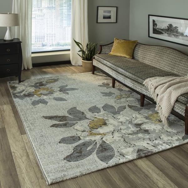 Grey Floral / Botanical Area Rug
