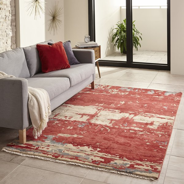 Red Abstract Area Rug