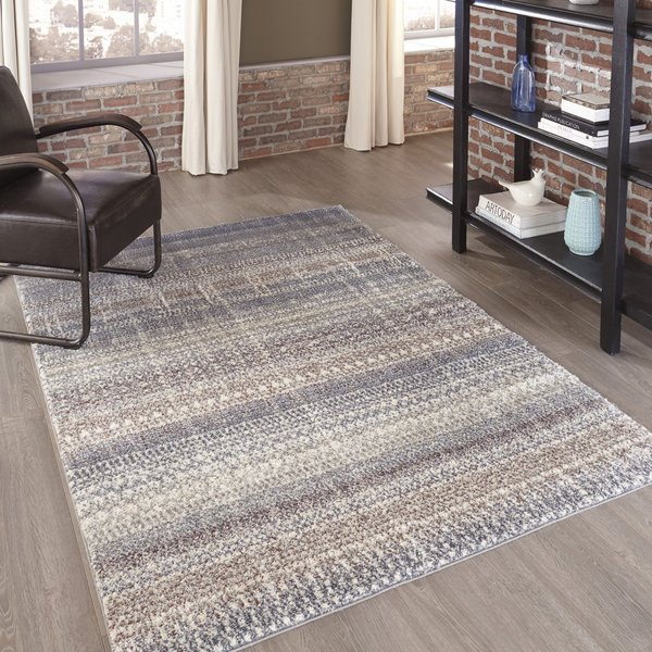 Ivory, Charcoal, Taupe Contemporary / Modern Area Rug
