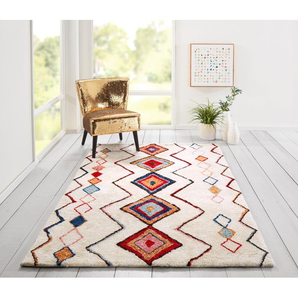 Ivory, Red, Blue (BUN-6) Moroccan Area-Rugs