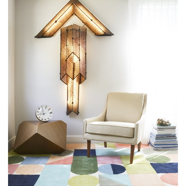 Ivory, Blue, Green (DEL-8) Contemporary / Modern Area-Rugs