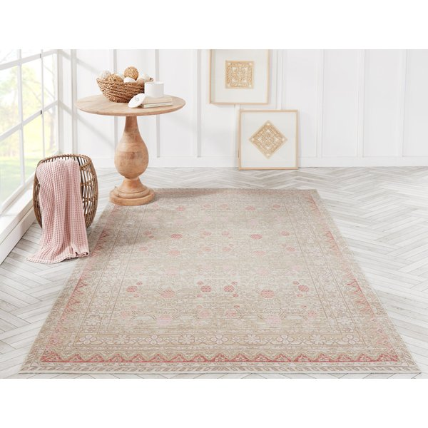 Pink Traditional / Oriental Area Rug