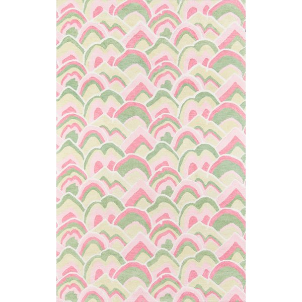 Pink, Green Contemporary / Modern Area Rug
