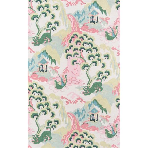 Pink, Green, Ivory Novelty / Seasonal Area Rug