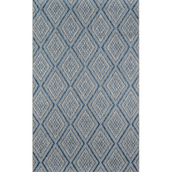 Blue, Ivory Contemporary / Modern Area-Rugs
