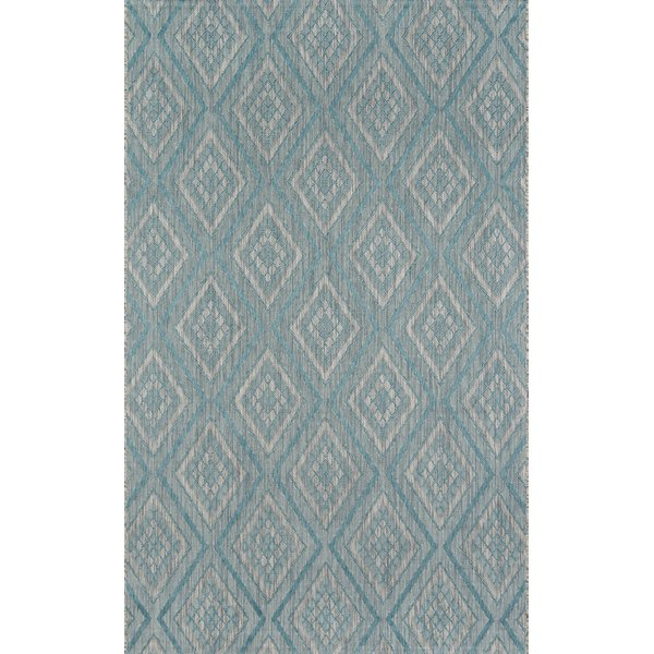 Light Blue, Ivory Contemporary / Modern Area-Rugs