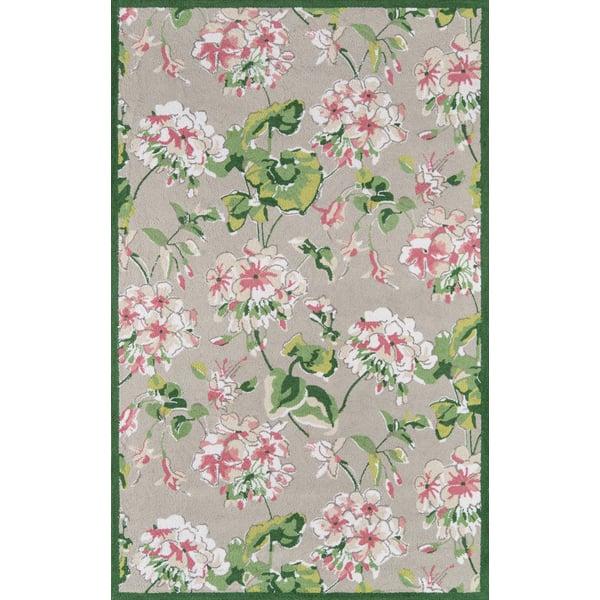 Grey, Pink, Green Floral / Botanical Area Rug