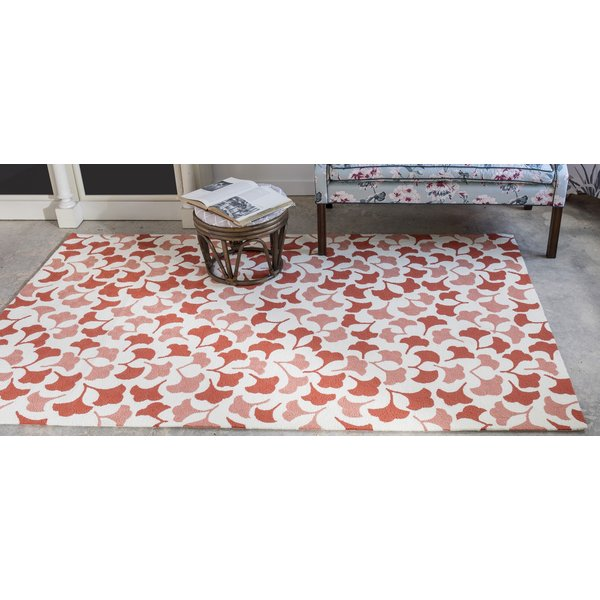 Red, Ivory Floral / Botanical Area-Rugs